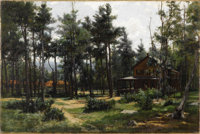 HUGH BOLTON JONES (American 1848 - 1927) Houses, Mt. McGregor, NY Oil on canvas 16 x 24 inches Signed lower right &l...