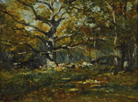 HENRY WARD RANGER (American 1858 - 1916) Forest Glade Oil on board 12 x 15-1/2 inches Stamped with artist's stamp lo
