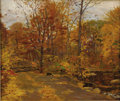 Fine Art - Painting, American:Modern  (1900 1949)  , ROBERT EMMETT OWEN (American 1878 - 1957). Autumn Woods. Oilon canvas. 20-1/8 x 24 inches. Signed lower right, R. Emm...
