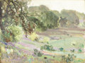 Fine Art - Painting, American:Modern  (1900 1949)  , FREDERICK W. BECKER (American 1888 - 1974). Lavendar Meadow(California), circa 1930s. Oil on canvas. 12 x 16 inches. ...
