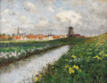 Fine Art - Painting, American:Antique  (Pre 1900), GEORGE HITCHCOCK (American 1850 - 1913). Dutch Landscape:Windmill and Daffodils, circa 1980s. Oil on canvas. 17-3/4 x2...