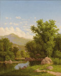 Fine Art - Painting, American:Antique  (Pre 1900), CHARLES HARRY EATON (American 1850 - 1901). Spring Landscapealong a River, 1877. Oil on board. 22-1/8 x 18-1/2 inches. ...