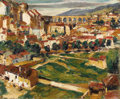 Fine Art - Painting, American:Modern  (1900 1949)  , MAX KUEHNE (American 1880 - 1968). The Aqueduct, Segovia,1917. Oil on panel. 14-1/2 x 17-3/4 inches. Signed and dated l...