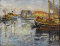 Fine Art - Painting, American:Modern  (1900 1949)  , HERMAN HARTWICH (American 1853 - 1926). Harbor View, 1916.Oil on canvas. 26-1/2 x 24 inches. Signed with the artist's m...