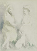 Impressionism & Modernism:French Impressionism, MARIE LAURENCIN (French 1885 - 1956). Ladies with a Dog.Colored pencil on paper. 13-1/8 x 9-3/5 inches. Signed lower ce...