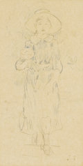 Fine Art - Painting, European:Antique  (Pre 1900), BERTHE MORISOT (French 1841 - 1895). Julie ala Pivoine,circa 1890-1891. Colored and graphite pencil. 10 x 5-1/4 inches...