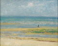 Fine Art - Painting, European:Modern  (1900 1949)  , EMILE (VICTOR AUGUSTIN) DELOBRE (French 1873 - 1956). Landscapewith Lone Figure, Ste. Croix, Normandy, 1948. Oil on boa...