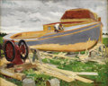 Fine Art - Painting, American:Contemporary   (1950 to present)  , WILLIAM STARKWEATHER (American 1879 - 1969) . The BoatBuilder, 1950. Oil on canvasboard. 16 x 20 inches. Signed lowerr...