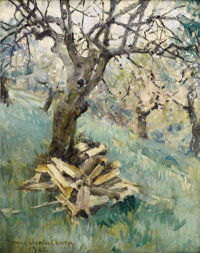 HOWARD CHANDLER CHRISTY (American 1872 - 1952) Applewood, Cut and Split, 1935 Oil on board 20 x 16 inches Signed and