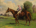 Fine Art - Painting, American:Antique  (Pre 1900), HENRY STULL (American 1851 - 1913). A Racehorse with JockeyUp, 1896. Oil on canvas. 16-1/4 x 20-1/4 inches. Signed and ...