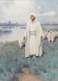 Fine Art - Painting, American:Modern  (1900 1949)  , EDGAR SAMUEL PAXSON (American 1852 - 1919). The Shepherd,1910. Watercolor on board. 25-7/8 x 18-3/8 inches. Label on re...