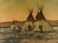 Fine Art - Painting, American:Modern  (1900 1949), WARREN ELIPHALET ROLLINS (American/New Mexico, California 1861 -1962). Indian Camp. Oil on canvas. 35 x 48 inches. Sign...
