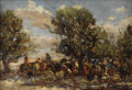 Fine Art - Painting, American:Modern  (1900 1949)  , FRANK PAUL SAUERWEIN (American 1871 - 1910). Santa DomingoIndians - On Their Way to Navajo Country. Oil on board.6-1/4...