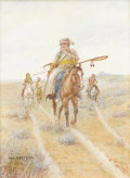 Fine Art - Painting, American:Modern  (1900 1949)  , OLAF C. SELTZER (American 1877 - 1957). Indian Scouts, 1906.Watercolor. 10 x 7-3/4 inches. Signed lower right. PROVEN...