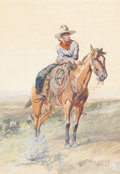 Fine Art - Painting, American:Modern  (1900 1949)  , OLAF C. SELTZER (American 1877 - 1957). Cow Puncher, 1906.Watercolor. 14-3/8 x 10 inches. Signed and dated lower right...