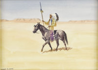 LEONARD HOWARD REEDY (American/Illinois 1899 - 1956) The Sioux Chief Watercolor 8 x 11 inches Signed lower left  P