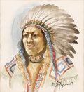 Fine Art - Painting, American:Antique  (Pre 1900), Attributed to EDGAR SAMUEL PAXTON (American 1852 - 1919). IndianChief Portrait. Watercolor. 7-7/8 x 7-1/4 inches. Signe...