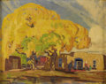 Fine Art - Painting, American:Modern  (1900 1949)  , CARL REDIN (American 1892 - 1944). Untitled (New MexicoAdobe), Early- to Mid- 1930s. Oil on artist's board. 12 x 15inc...