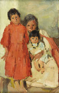 Fine Art - Painting, American:Modern  (1900 1949)  , LEON SHULMAN GASPARD (American 1882 - 1964). Grandmother and herGrandchildren Zuni, 1919. Oil on canvas laid on board. ...