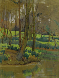 ERNEST MARTIN HENNINGS (American 1886 - 1956) Pond with Trees Watercolor and gouache on paper 12 x 9 inches Signed l