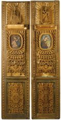 Furniture, A Pair of Spanish Colonial-Style Carved and Partially Painted Wood Architectural Panels. Unknown maker, Colonial America... (Total: 2 Items)