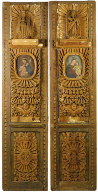 A Pair of Spanish Colonial-Style Carved and Partially Painted Wood Architectural Panels  Unknown maker, Colonia