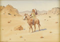 Fine Art - Painting, American:Modern  (1900 1949)  , LEONARD HOWARD REEDY (American/Illinois 1899 - 1956). A SiouxChief. Watercolor. 8 x 11 inches. Signed lower left. PRO...