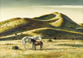 Fine Art - Painting, American:Contemporary   (1950 to present)  , PETER HURD (American 1904 - 1984). Mare and Colt. Temperaand oil on board. 24 x 34 inches. Signed lower left. PROVENA...