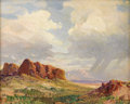 Fine Art - Painting, American:Modern  (1900 1949)  , FRED GRAYSON SAYRE (American 1879 - 1939). Scene Near Gallup,New Mexico. Oil on Masonite. 13 x 15-3/4 inches. Signed lo...