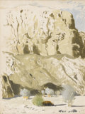 Fine Art - Painting, American:Contemporary   (1950 to present)  , JAMES SWINNERTON (American 1875 - 1974). In a Desert Wash Near Mecca, California. Oil wash on cardboard. 16 x 20 inches...