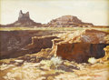 Fine Art - Painting, American:Modern  (1900 1949)  , ROBERT DAUGHTERS (American b.1929). Desert Landscape. Oil oncanvas. 12 x 16 inches. Signed lower right. PROVENANCE:. ...