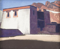 NIKOLAI KONSTANTINOVICH ROERICH (Russian 1874 - 1947) Sharugon Monastary, Tibet, 1928 Tempera on canvas board 13 x 16