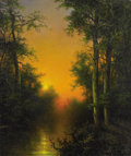 Fine Art - Painting, American:Contemporary   (1950 to present)  , A. D. GREER (American 1904 - 1998). Landscape at Sunset. Oilon canvas. 24 x 19-7/8 inches. Signed lower right, A.D. G...