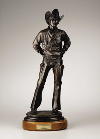 BILL NEBEKER (American b.1942) I Ain't No Fence Buster, 1979 Bronze 23in. x 9in. x 6in. Signed on back of base Edit
