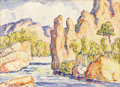 Fine Art - Painting, American:Modern  (1900 1949)  , BIRGER SANDZEN (American 1871 - 1954). Mountain RiverValley. Watercolor on paper. 11 x 15 inches. PROVENANCE:.Privat...