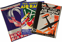 """Group of 1930s Air Show Programs. An attractive lot of air show directories from the """"Golden Age"""" of flight in..."""