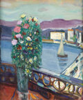 Fine Art - Painting, European:Contemporary   (1950 to present)  , FREDERICK B. SERGER (American 1889 - 1965). Still Life ofFlowers with Boat in the Background. Oil on canvas. 24 x19-4/...