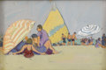 American:Impressionism, JANE PETERSON (American 1876-1965). Beach Scene with StripedSail. Gouache and sand on paper. 8in. x 12in.. Provenance: ...