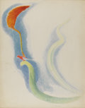 American:Modern, JOSEPH STELLA (American 1877 - 1946). Red Tropical Flowers withBird. Crayon and silverpoint on paper. 28-1/2 x 22-1/2 i...