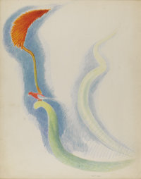 JOSEPH STELLA (American 1877 - 1946) Red Tropical Flowers with Bird Crayon and silverpoint on paper 28-1/2 x 22-1/2 i