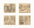 Fine Art - Painting, American:Modern  (1900 1949)  , OSCAR BLUEMNER (American 1867 - 1938). Bloomfield Lock (group offour sketches), circa 1916 - 1917. Graphite on paper. 4...