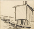 Fine Art - Painting, American:Modern  (1900 1949)  , OSCAR BLUEMNER (American 1867 - 1938). Canal, Lawrence,August 4, 1934. Graphite on paper. 4-3/8 x 5-5/8 inches. Artist'...