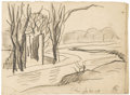 Fine Art - Painting, American:Modern  (1900 1949)  , OSCAR BLUEMNER (American 1867 - 1938). Soho Canal from Hill,SE, January 30, 1919. Graphite on paper. 4-1/2 x 6-1/8 inch...