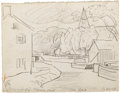 Paintings, OSCAR BLUEMNER (American 1867 - 1938). Bloomfield Plane Port. Graphite on paper. 4-3/8 x 5-5/8 inches. Artist's initials...