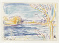 Fine Art - Painting, American:Modern  (1900 1949)  , OSCAR BLUEMNER (American 1867 - 1938). East Patterson,February 1, 1912. Crayon on paper. 5-1/4 x 7-1/4 inches. Signedl...