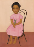 Latin American:Early 20th Century, GUSTAVO MONTOYA (Mexican b. 1905). Girl in a Pink Dress. Oilon canvas. 24 x 18 inches. Signed lower right. ...