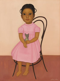 GUSTAVO MONTOYA (Mexican b. 1905) Girl in a Pink Dress Oil on canvasR<24in. x 18in. Signed lower right