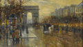 Paintings, ANTOINE BLANCHARD (French 1910 - 1988). Street Scene. Oil on canvas. 15 x 26 inches. Signed lower right. ...