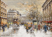 ANTOINE BLANCHARD (French 1910 - 1988) Rue Madeleine in the Snow Oil on canvas 13 x 18 inches Signed lower left, A