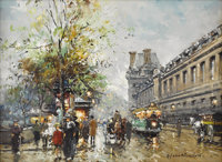 ANTOINE BLANCHARD (French 1910 - 1989) Rue de Louvre, circa 1960 Oil on canvas 13 x 18 inches Signed lower right